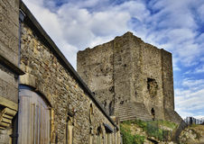 View of Clitheroe Castle, Lancashire. A view of the keep and additional buildings of Clitheroe Castle, a Grade One listed Norman Motte and Bailey fortification royalty free stock image