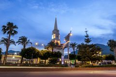 View of the clock tower in the center of Kemer stock photography