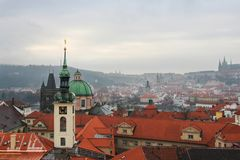 View from clock tower in Old Town, Prague, Czech Republic stock photo