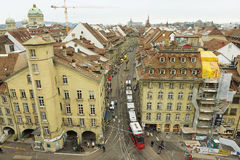 View from the Clock Tower to the tram passing by the street in Bern, Switzerland. Stock Photography