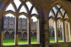 View of and through the cloisters, inside Durham Cathedral grounds. royalty free stock images
