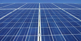 View close to the photovoltaic panel, using clean energy, renewable energy. The concept of remote support technology, bio ecology,. Ecology, electricity from Royalty Free Stock Images