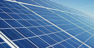 View close to the photovoltaic panel, using clean energy, renewable energy. The concept of remote support technology, bio ecology,. Ecology, electricity from Stock Photo