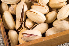 View close-up on a group of salted pistachios Royalty Free Stock Images
