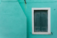 View of a closed balcony from Burano island, Venice Stock Image