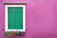 View of a closed balcony from Burano island, Venice Stock Photo