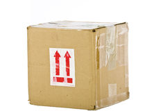 View of closed cardboard box on white Stock Photography