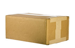 View of closed cardboard box on white Stock Photo