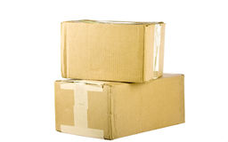 View of closed cardboard boxes on white Royalty Free Stock Images