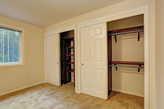 View of closet in bedroom Stock Photos
