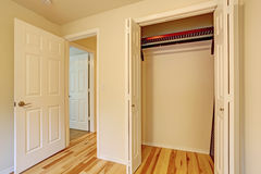 View of closet in bedroom. Small bedroom interior. CLose up view of empty closet Stock Photography