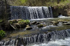 View closeup of part at waterfall cascade of river Bistritsa between village  Bistritsa and village Pancharevo, place for tourism. And travel in Vitosha stock photography
