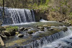 View closeup of part at waterfall cascade of river Bistritsa between village  Bistritsa and village Pancharevo, place for tourism. And travel in Vitosha royalty free stock photography