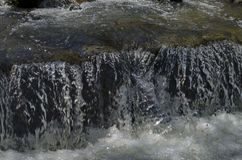 View closeup of waterfall part at cascade of river Bistritsa between village  Bistritsa and village Pancharevo, place for tourism. And travel in Vitosha royalty free stock images