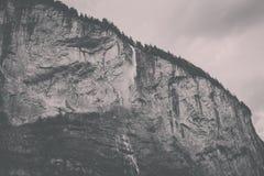 View closeup waterfall Staubbach fall in mountains, valley of waterfalls. In national park of Lauterbrunnen, Switzerland, Europe. Summer landscape, sunshine stock photo