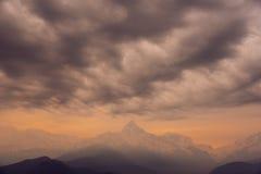 View of the cloud Annapurna mountain range ,Nepal Stock Image