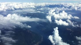 View of clouds from the aircraft window in flight. stock footage