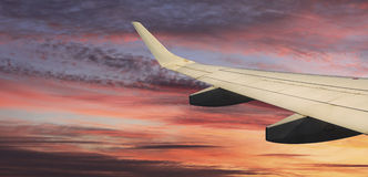 View of the clouds and airplane wing Royalty Free Stock Photo