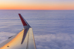 View of the clouds and airplane wing Royalty Free Stock Images