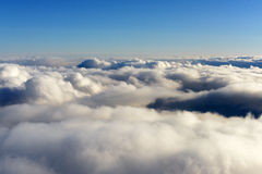 View of the clouds from the top of the plane Royalty Free Stock Photos