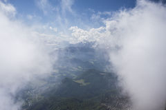 View of clouds from Untersberg in Austria. View of clouds from Untersberg, Berchtesgaden Alps in Austria Royalty Free Stock Image