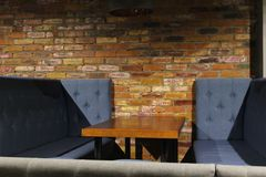 View of the club hall. Tables and chairs with covers 30584 Stock Photos