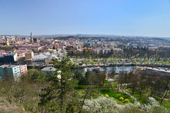 View of Cluj-Napoca city, in spring, from Cetatuia hill. Picture taken at Cetăţuia (in Hungarian Fellegvár) is a fortification built during the Habsburg royalty free stock photos