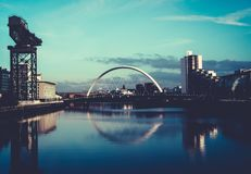 Clyde Arc Squinty Bridge, Glasgow, Scotland. View of the Clyde Arc Bridge and Finnieston Crane, on the River Clyde, Glasgow, Scotland Royalty Free Stock Image