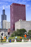 View of CNA Plaza and Willis Tower. CHICAGO, ILLINOIS - SEPTEMBER 6: CNA Plaza and Willis Tower on September 6, 2012 in Chicago, Illinois. Willis Tower, also royalty free stock images