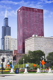 View of CNA Plaza and Willis Tower. CHICAGO, ILLINOIS - SEPTEMBER 6: CNA Plaza and Willis Tower on September 6, 2012 in Chicago, Illinois. Willis Tower, also stock images