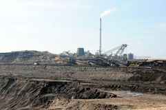 View into a coal mine with its coal factory Stock Photography