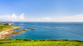 View of coas of English Channel from Saint-Guirec. Travel to France - view of coastline of English Channel from Saint-Guirec area of Perros-Guirec commune on Royalty Free Stock Photos