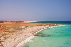 The view on the coast of the amazing island in the ocean. Yemen. island of Socotra. royalty free stock images
