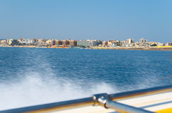 View of the coast and architecture of Malta. From the speedboat Royalty Free Stock Photos