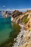 View of coast of Baikal lake. Shaman rock and cape Burhan on Olkhon Island, Russia Stock Images