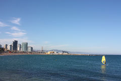 View of the coast of Barcelona city Royalty Free Stock Image