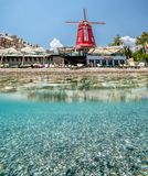 View of the coast and the beach in Kemer over water and under water royalty free stock images