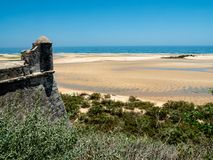 View of the coast below Forte de Cacela Royalty Free Stock Image