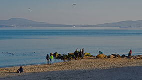 View on the coast Burgas bay. In the afternoon weekend in the sunny day Royalty Free Stock Photos
