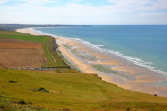 View of the coast from Cap Blanc Nez, Cote d`Opale, Pas-de-Calais, France royalty free stock photo