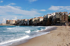 View at coast in Cefalu Royalty Free Stock Images