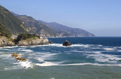View of the coast of Cinque Terra from Monterosso al Mare in the Royalty Free Stock Photo