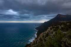 View of the coast with clouds royalty free stock image