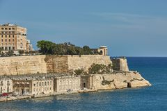View of a coast and downtown of Valletta in Malta.  Stock Photo