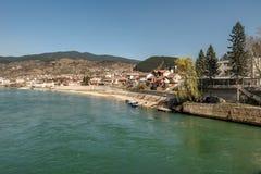 View on coast of Drina river and Visegrad city, Bosnia and Herzegovina stock photos