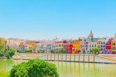 View from the coast of the Guadalquivir to the Triana district i. N Seville. Spain royalty free stock images