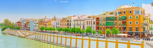 View from the coast of the Guadalquivir to the Triana district i royalty free stock photos