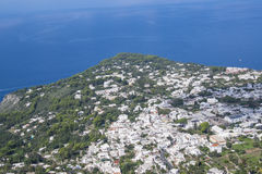 View of the Coast Line of Anacapri from Above. View of the Coast Line of Anacapri Seen from the Chairlift Up Mount Solaro in Italy Royalty Free Stock Image