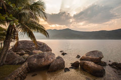View of the coast of mountains and sea of Paraty - RJ Stock Images