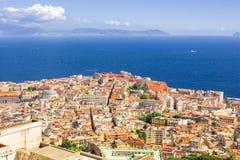 View of the coast of Naples with vesuvio volcano, Italy Royalty Free Stock Photography